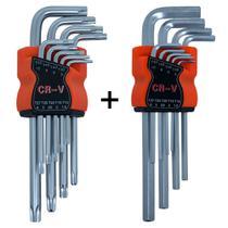 Kit Jogo Chave Torx Longa Tipo L Profissional T10 a T50 + Jogo de Chave Allen Tipo L Profissional T10 a T50 - Gorillaz