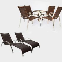 Kit - Jogo de 4 Cadeiras e 2 Espreguiçadeiras SEM MESA - Trama Original