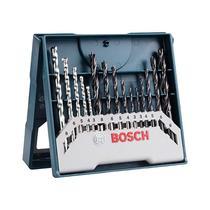 Kit Jogo de Brocas Metal Madeira Alvenaria 3 a 8mm 15 peças X-Line  2607017504 Bosch -