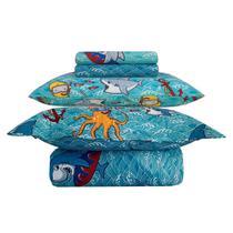 Kit Jogo de Cama Solteiro Infantil Menino Azul Happy Day Shark 5 Peças Sultan -