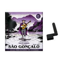 Kit Jogo de Cordas Encordoamento 010 Super Leve para Guitarra São Gonçalo + Encordoador Manual a Manivela -