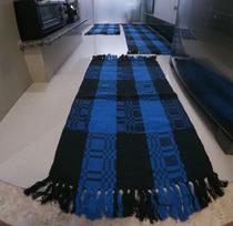 Kit Jogo de Cozinha de Algodão 03 Peças Azul com Preto - Tapetes Marajó