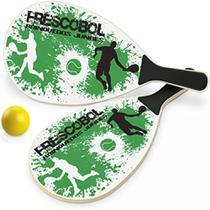 Kit jogo de frescobol madeira mdf 1 bola 2 raquetes praia sol verao diversao junges -