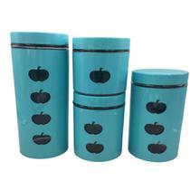 Kit jogo de potes porta mantimentos verde com visor em vidro e inox luxo 4 peças kangur -