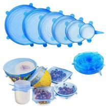 Kit jogo de tampas para potes tigelas vasilhas panelas latas frutas redonda e quadrada ajustavel - Makeda