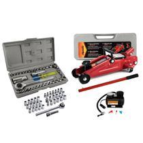 Kit Jogo Ferramentas Veicular Carro Macaco Soquetes com Mini Compressor 12v - Bestfer