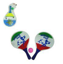 Kit jogo frescobol 2 raquetes 1 bola - Top Rio