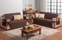 kit jogo para sofá 2 e 3 lugares com 4 almofadas 50 x 50 café com leite - Brucebaby Bordados