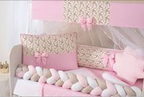 kit jogo protetor de berço 11 peças menina com saia box rosa - L2M