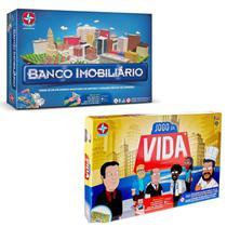 Kit Jogos Tabuleiro Banco Imobiliário + Jogo da Vida Estrela -