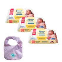 Kit Johnson's Baby Toalhinhas Recém-Nascido 288 unidades + Babador Johnson Rosa -