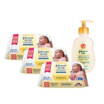 Kit Johnson's Baby Toalhinhas RN 288 unidades + Sabonete Líquido Corpo e Cabeça 200ml -