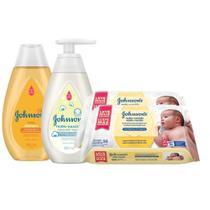 Kit Johnson's Baby: Toalinhas + Shampoo + Sabonete Líquido -