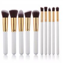 Kit Kabuki  10 Pinceis Maquiagem Branco  Sombra Base - Shoopweb