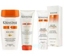 Kit Kérastase Shampoo Bain Satin 2 250ml + Condicionador Lait Vital 200ml + Protetor Térmico Nectar Thermique 150ml