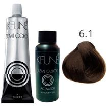 Kit Keune Semi Color 60ml - Cor 6.1 - Louro Escuro Cinza + Ativador 60ml