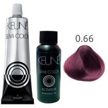 Kit Keune Semi Color 60ml - Mix 0/66 - Vermelho + Ativador 60ml -