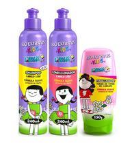 Kit Kids Cabelo Liso Shampoo + Condicionador 240ml + Finalizador 150g - Bio Extratus -