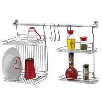 Kit Kitchen Set 4 Porta Temperos Escorredor Pratos E Copos 3 Ganchos Barra Cook - Passerini