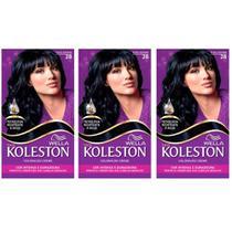 kit Koleston Tinta 28 Preto Azulado C/03 - Wella