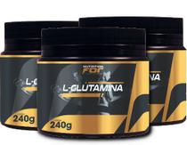Kit l-glutamina pó nutrition for 240gr 3 potes premiun - Fitoplant
