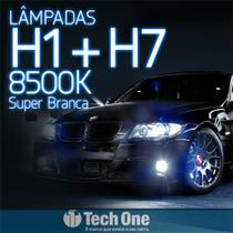 Kit Lampada Super Branca H1 + H7 8500k TechOne -