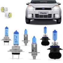 Kit Lampadas Fiesta Hatch Sedan 2007 2008 2009 2010 Super Brancas Farol H7 H1 Milha HB4 9006 - Techone 8500k 55w Inmetro -