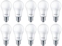 Kit Lâmpadas LED 10 Unidades Branca E27 9W  - 6500WK Philips Bulbo