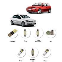 Kit Lâmpadas Led Volkswagen Gol G3 G4 G5 Farolete Teto Placa Branca -