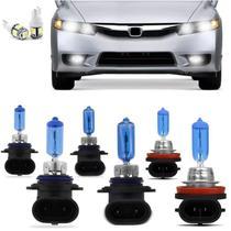 Kit Lampadas New Civic 2006 2007 2008 2009 2010 Super Brancas Farol HB4 9006 HB3 9005 Milha H11 - Techone 8500k Inmetro -