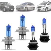 Kit Lampadas Onix Prisma Cobalt Spin Super Branca 8500k H4 H27 - Techone