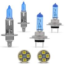 Kit Lâmpadas Super Brancas H1 H7 Efeito Xênon + Par Pingo T10 4 LEDs Super Branca Tipo Xenon - Prime