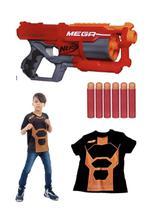 Kit Lançador de Dardos Nerf Mega CycloneShock Com 6 Dardos Hasbro + Camiseta -