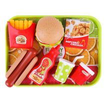 Kit lanchonete brinquedo infantil c/ 19pçs fast food lanchinho - XINYUE