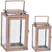 Kit lanterna cobre em vidro  e aço inoxidável - 2 pcs - Mart