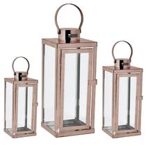 Kit lanterna cobre em vidro e aço inoxidável - 3 pcs - Mart