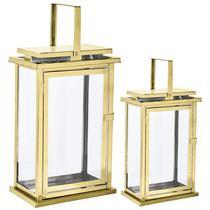 Kit lanterna dourada em vidro  e aço inoxidável - 2 pcs - Mart