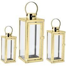 Kit lanterna dourada em vidro  e aço inoxidável - 3 pcs - Mart