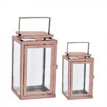 Kit Lanterna em Vidro e Aço Inoxidável Cobre 2Pçs - Mart