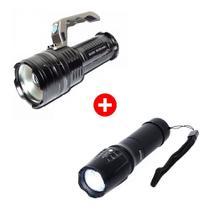 Kit Lanterna Led Tática Militar X900 + Lanterna Led Holofote Mega Premium - Militar x900 / bmax
