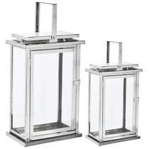 Kit lanterna prata em vidro  e aço inoxidável - 2 pcs - Mart