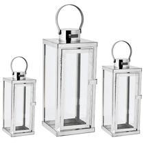 Kit lanterna prata em vidro  e aço inoxidável - 3 pcs - Mart