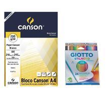 Kit Lapis Cor Aquarelável 24 Giotto+Bloco Canson A4 Desenho 200 -