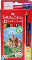 Kit lapis de cor 12 cores sextavado + borracha + apontador + caneta + lápis grafite - Faber-Castell