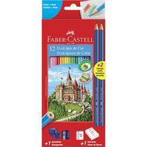 Kit lapis de cor 12 cores sextavado + borracha + apontador - Faber Castell
