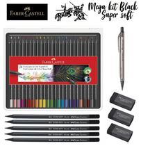 Kit Lápis De Cor 24 Cores Super Soft Faber-castell + Itens -
