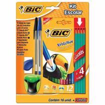 Kit lápis de cor bic evolution 12 cores + 4 lapis + 2 canetas + 1 apontador + 1 borracha -