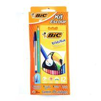 Kit lápis de cor bic evolution 12 cores + lapis + caneta + apontador -