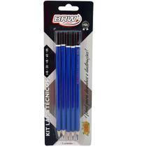 Kit lápis tecnicos preto para desenho hb/2b/4b/6b/8b cartela com 5 unidades - brw -