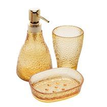 Kit lavabo 3 pcs banheiro vidro elegant ambar - Casa Limpa